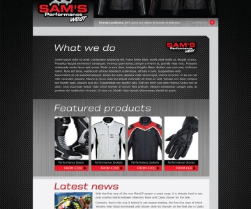Sam's Performance Wear Website Design